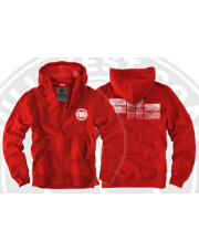 BLUZA PIT BULL LOGO RED HOODED ZIP