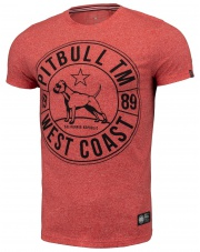 T-SHIRT KOSZULKA PIT BULL CUSTOM FIT CIRCLE DOG RED