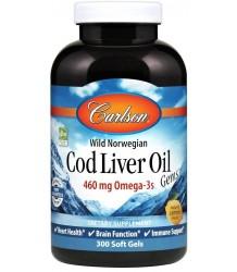 CARLSON LABS Wild Norwegian Cod Liver Oil Gems 460mg - 300 softgels