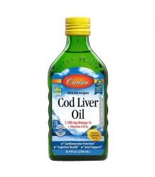 CARLSON LABS Norwegian Cod Liver Oil 1100 mg Natural Lemon 250 ml.