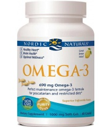 Nordic Naturals Omega-3 690mg Lemon (Fish Gelatin) - 60 fish gels